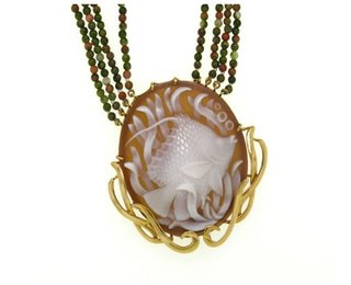 Angelfish w/grass Cameo Necklace