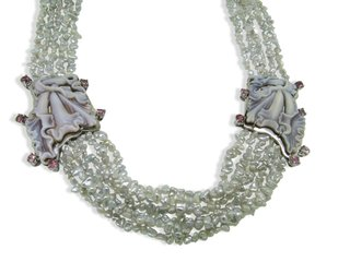 Cattleya Orchid Cameo Necklace w/Pink Tourmalines & Keshi Pearls